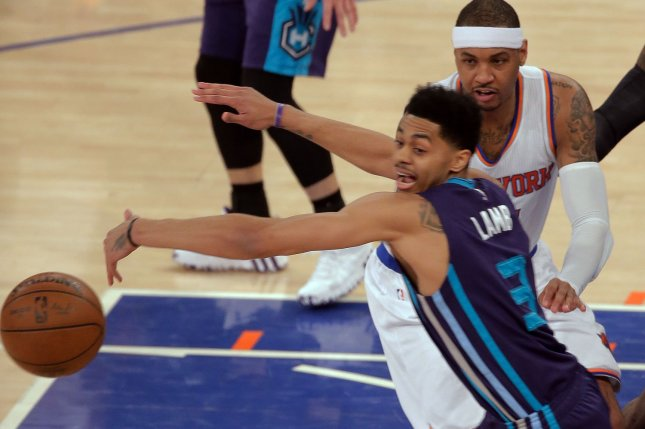 Former Charlotte Hornets and current Indiana Pacers guard Jeremy Lamb (3) averaged 12.5 points and 4.3 rebounds in 46 games this season. File Photo by Ray Stubblebine/UPI