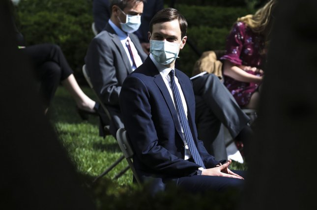 White House adviser Jared Kushner wears a face mask as President Donald Trump speaks about the coronavirus during a press briefing in the Rose Garden. Most White House personnel will be required to wear face masks in the West Wing of the White House under new guidelines. Photo by Oliver Contreras/UPI
