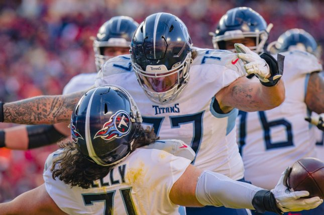 Tennessee Titans offensive tackle Taylor Lewan (77) suffered the knee injury during Sunday's game against the Houston Texans. File Photo by Kyle Rivas/UPI
