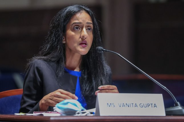 The Senate voted 51-49 on Wednesday to confirm Vanita Gupta as associate attorney general, making her the first woman of color to serve in the role in the history of the Justice Department.File Pool Photo by Michael Reynolds/UPI
