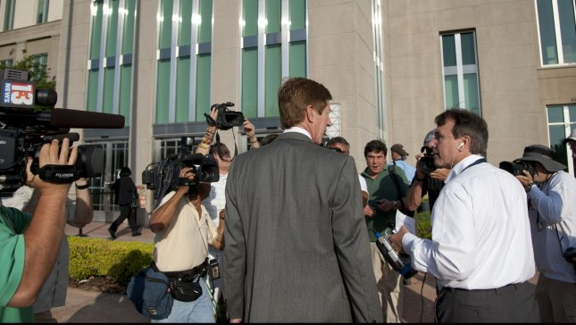 Attorney Mark O'Mara walks outside of the Seminole County Sheriff's Office in Sanford, Florida, on April 20, 2012. UPI/Gary I Rothstein
