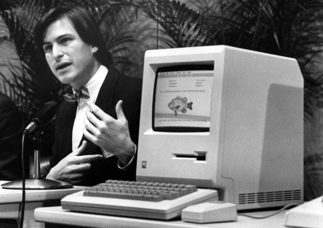 Steve Jobs resigned as the chief executive of Apple Inc due to health reasons on August 24, 2011. He is shown announcing the Apple Macintosh computer at a shareholders meeting on January 24, 1984. UPI/Terry Schmitt/Files