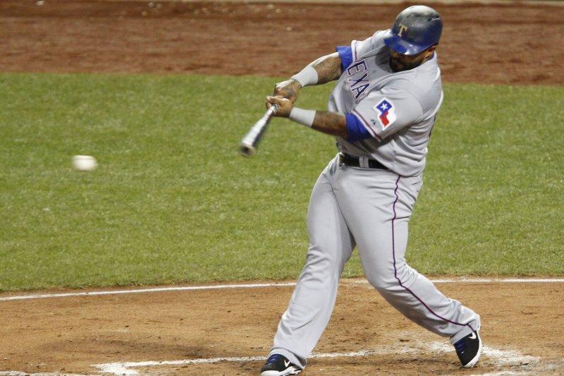 Texas Rangers' Prince Fielder. Photo by John Sommers II/UPI