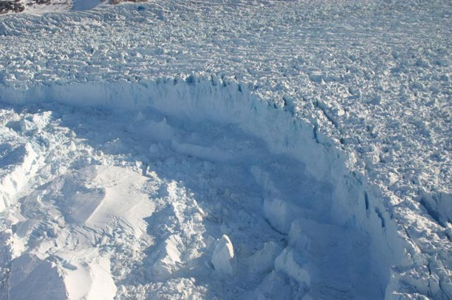 Researchers say Greenland's subglacial lakes are likely to drain more frequently as the climate warms. Photo by UPI Photo/NASA/Wallops