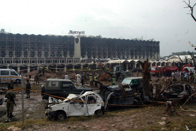 A dump truck carrying 13,000 pounds of explosives blew up at the entrance of the Marriott Hotel in Islamabad, Pakistan, killing at least 50 people on September 20, 2008. Qari Yasin, a militant who plotted the bombing, was killed in a U.S. airstrike in Afghanistan, the U.S. Department of Defense confirmed Saturday night. File photo by Sajjad Ali Qurehsi/UPI