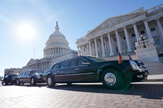 President Donald Trump's motorcade is seen outside of the U.S. Capitol Building as Trump meets inside with the Senate Republican caucus, on November 28 in Washington, D.C. File Photo by Kevin Dietsch/UPI