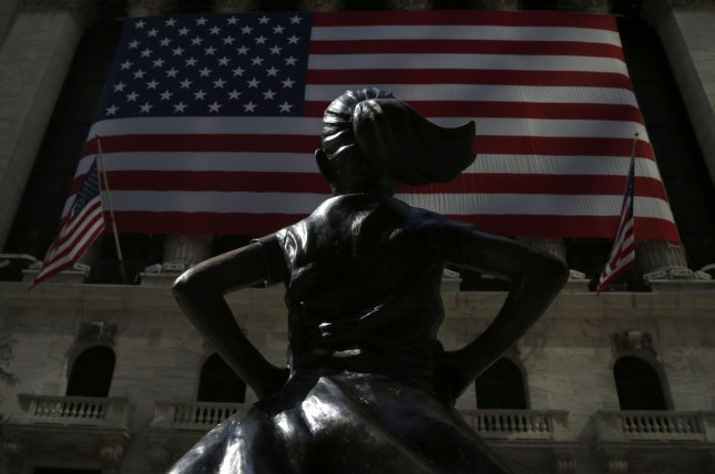 The Fearless Girl statue is seen outside the New York Stock Exchange in New York City on September 8. Photo by John Angelillo/UPI
