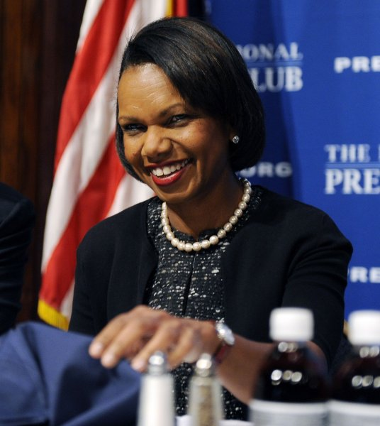 Former Secretary of State Condoleezza Rice waits to speak at the National Press Club in Washington on October 15, 2010. Her appearance coincides with the publication of her new book about her childhood in racially segregated Birmingham, Alabama. UPI/Roger L. Wollenberg