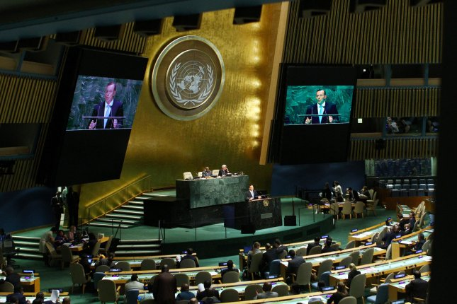 The 69th session of the United Nations General Assembly held at the UN in New York City on September 25, 2014, has ratified the Arms Trade Treaty. (UPI /Monika Graff)