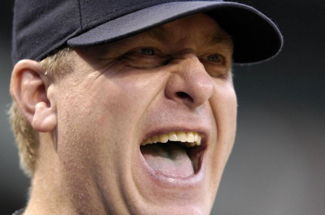 Former Boston Red Sox pitcher Curt Schilling yells something to the Baltimore Orioles bench in the first inning at Camden Yards in Baltimore on September 6, 2007. (UPI Photo/Mark Goldman)