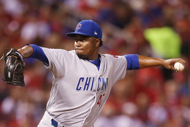 Chicago Cubs pitcher Randy Rosario did not play in Sunday's loss to the Texas Rangers, but did provide one of the game's best highlights by catching a home run in his hat. File Photo by Bill Greenblatt/UPI