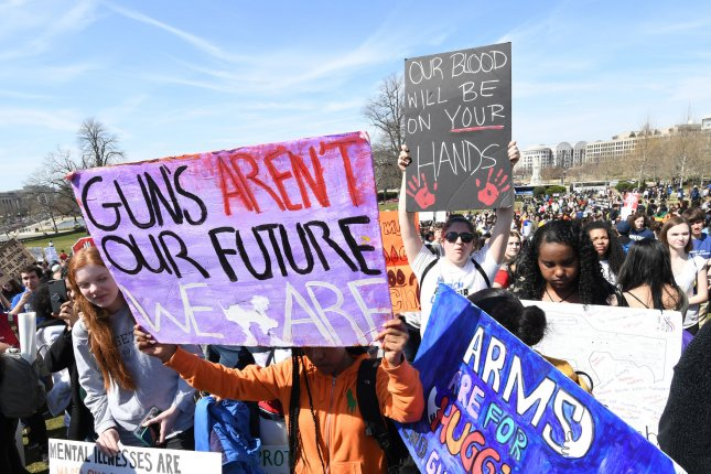 Students from the Washington, D.C., area stage a walkout and march in protest of gun violence last month. The FBI reported there were 27 active shooter incidents in 2018, down slightly from 2017. Photo by Pat Benic/UPI