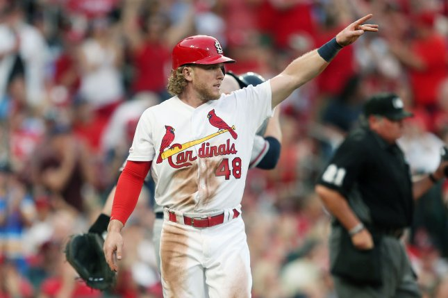 St. Louis Cardinals outfielder Harrison Bader has a career-low .195 batting average this season. File Photo by Bill Greenblatt/UPI
