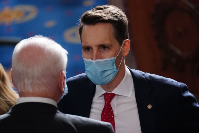 Sen. Josh Hawley, R-Mo., said he will take publishing house Simon & Schuster to court after it canceled his book deal on Thursday. Photo by Kevin Dietsch/UPI