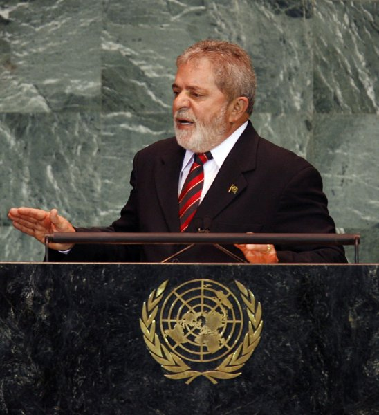 Brazilian President Luiz Inacio Lula da Silva speaks at at the 64th United Nations General Assembly in the UN building in New York City on September 23, 2009. UPI/John Angelillo