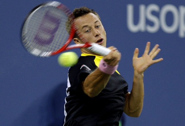 Philipp Kohlschreiber, shown at the 2012 U.S. Open, had a win Friday that put him into the semifnals of the Mercedes Cup in Germany. UPI/John Angelillo