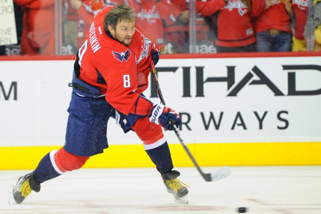 Washington Capitals left wing Alex Ovechkin (8) warms up prior to the Capitals home opener at the Verizon Center in Washington, D.C. on October 10, 2015. Photo by Mark Goldman/UPI