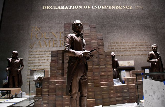 President Thomas Jefferson is shown with a wall of bricks to denote each of his slaves as part of the new Smithsonian National Museum of African American History and Culture in Washington, D.C. The 400,000-square-foot museum on the National Mall opens to the public this weekend. Photo by Pat Benic/UPI