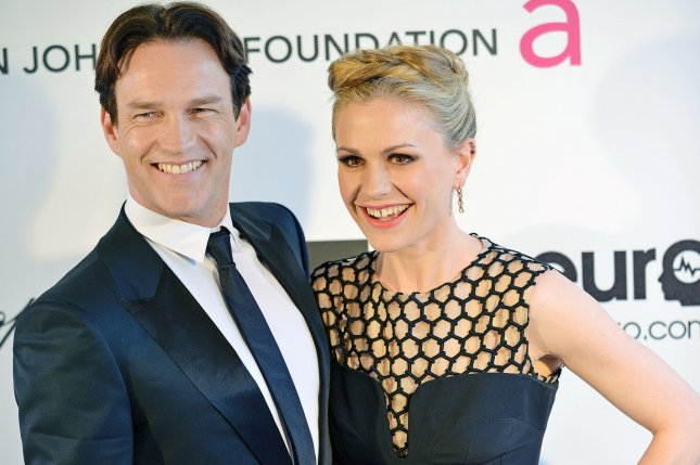 The Gifted star Stephen Moyer and Anna Paquin attend the Elton John AIDS Foundation Academy Awards Viewing Party in 2013. Moyer stars in a new teaser trailer for Fox's new X-Men series The Gifted. File Photo by Chris Chew/UPI