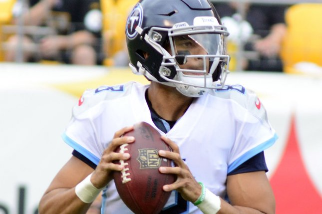 Tennessee Titans quarterback Marcus Mariota drops back to pass against the Pittsburgh Steelers at Heinz Field in Pittsburgh on August 25, 2018. Photo by Archie Carpenter/UPI