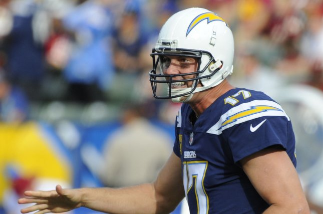 Los Angeles Chargers quarterback Philip Rivers reacts after throwing a touchdown pass in the first half against the Washington Redskins on December 10, 2017 at the StubHub Center in Carson, California. Photo by Lori Shepler/UPI