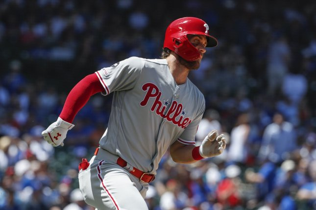 Philadelphia Phillies outfielder Bryce Harper is now hitting .235 in his first season with the franchise. Photo by Kamil Krzaczynski/UPI