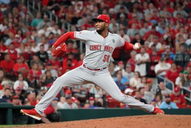 Cincinnati Reds pitcher Amir Garrett will face Tampa Bay Rays pitcher Blake Snell in the first game of the MLB The Show Players League on Friday. File Photo by Bill Greenblatt/UPI