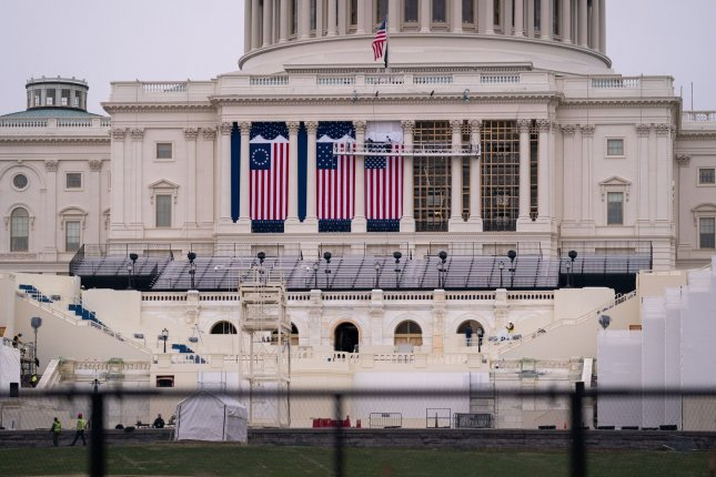 Large fencing is installed around the U.S. Capitol ahead of the January 20 presidential inauguration in Washington, D.C.  Photo by Kevin Dietsch/UPI