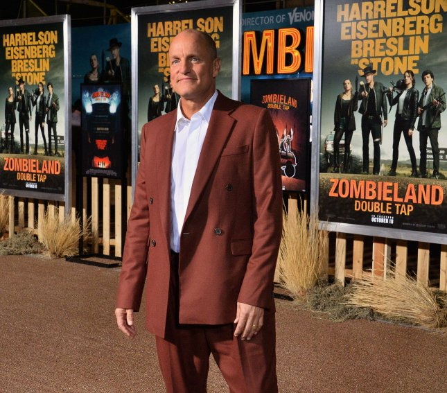 Woody Harrelson attends the premiere of Zombieland: Double Tap at the Regency Village Theatre in the Westwood section of Los Angeles on October 10, 2019. The actor turns 60 on July 23. File Photo by Jim Ruymen/UPI