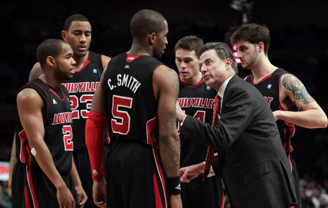 Louisville Cardinals Coach Rick Pitino, shown during a game last March, is among 12 finalists for induction to the Basketball Hall of Fame, it was announced Friday. UPI/John Angelillo