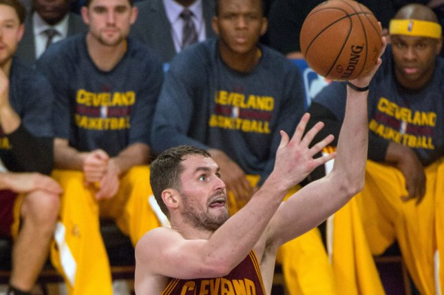 Kevin Love (0) scored 32 points in helping the Cleveland Cavaliers rout the Los Angeles Lakers. File photo by Jon SooHoo/UPI