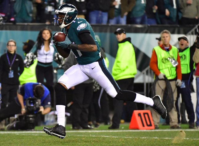 Philadelphia Eagles wide receiver Alshon Jeffrey grabs a 53-yard touchdown pass against the Minnesota Vikings during the NFC Championship game at Lincoln Financial Field in Philadelphia, Pennsylvania on January 21, 2018. Photo by Kevin Dietsch/UPI