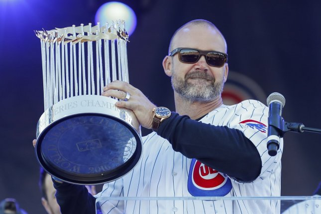 Former Chicago Cubs catcher David Ross (pictured) played under former Cubs manager Joe Maddon in 2015 and 2016 before moving to the organization's front office. File Photo by Kamil Krzaczynski/UPI