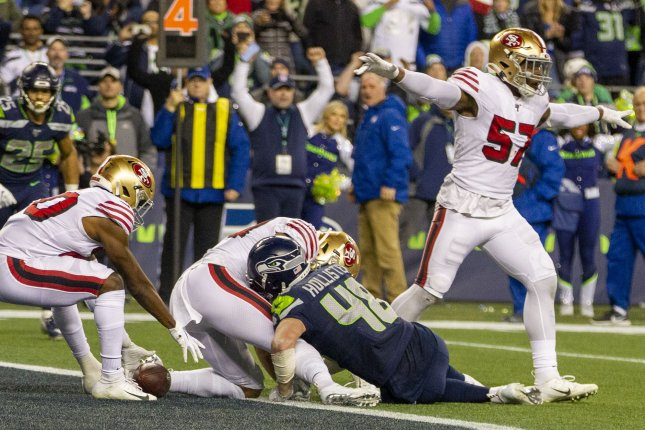The San Francisco 49ers stopped Seattle Seahawks tight end Jacob Hollister (48) at the goal line to secure a season-ending victory and win the NFC West Sunday in Seattle. Photo by Jim Bryant/UPI