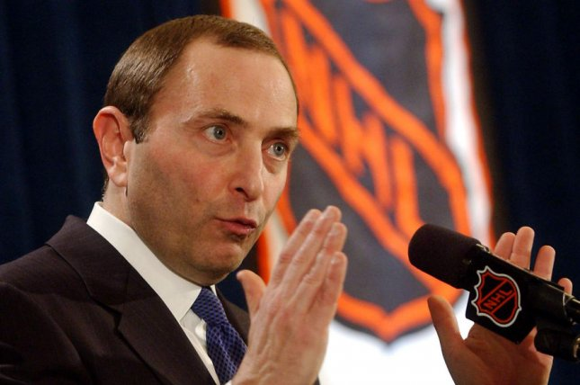 NHL Commissioner Gary Bettman meets the New York media on February 16, 2005, to announce the cancellation of the 2004-05 hockey season. File Photo by Ezio Petersen/UPI