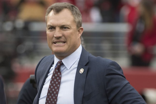 San Francisco 49ers general manager John Lynch and all other front office decision-makers will announce their 2020 NFL Draft choices from their homes due to the coronavirus pandemic. File Photo by Terry Schmitt/UPI