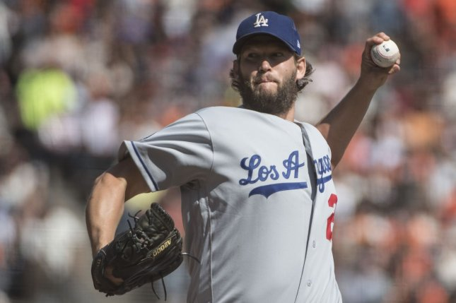 Los Angeles Dodgers ace Clayton Kershaw was scratched from his start on Tuesday due to back spasms, but will start on Thursday in Arlington, Texas. File Photo by Terry Schmitt/UPI