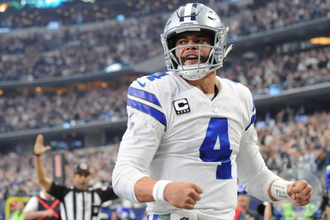 Dallas Cowboys quarterback Dak Prescott said he is ready to start his road to come back on Thursday after he sustained a season-ending ankle injury on Sunday. File Photo by Ian Halperin/UPI