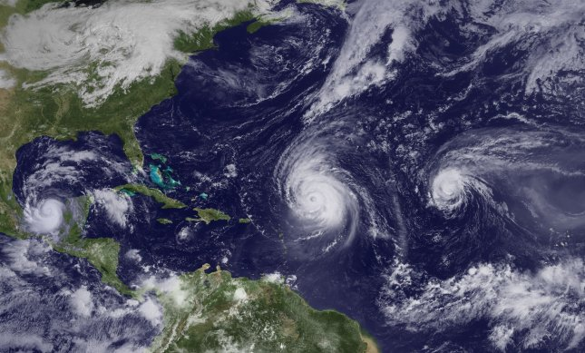 This NOAA image shows Hurricanes Igor, Julia and Karl, September 16. Large and powerful Igor is moving slowly northwestward, Julia is weakening as it moves quickly northwestward over open waters of the eastern Atlantic and Karl has become a hurricane. A Hurricane Warning has been issued for the Gulf Coast of Mexico. UPI/NOAA