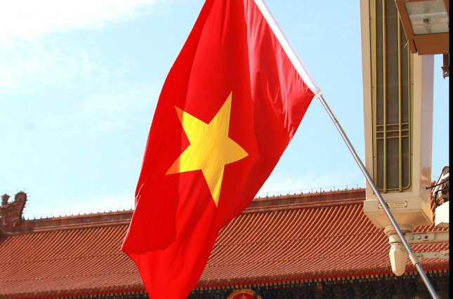 Vietnam's national flag flies over Tiananmen Square for Vietnams President Troung Tan Sang's 2013 visit to China's capital Beijing, hoping to ease tension in the South China Sea where both countries claim to own the same territorial area. UPI/Stephen Shaver