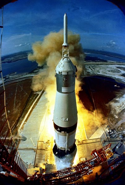 Apollo 11 is launched from the Kennedy Space Center in Florida July 16, 1969, carrying astronauts Neil Armstrong, Michael Collins and Edwin Buzz Aldrin on the first moon-landing mission. iw/NASA UPI
