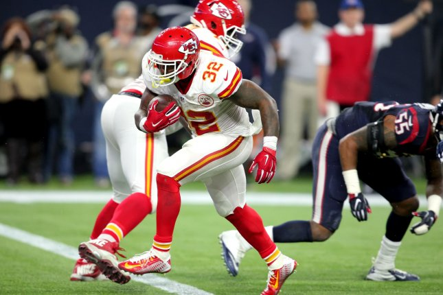 Kansas City Chiefs running back Spencer Ware crosses the goal line during the AFC playoffs against the Houston Texans last season. Photo by Erik Williams/UPI
