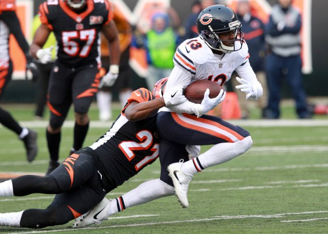 Chicago Bears wide receiver Kendall Wright fights to break free from Cincinnati Bengals' Dre Kirkpatrick during a game in December. Photo by John Sommers II /UPI