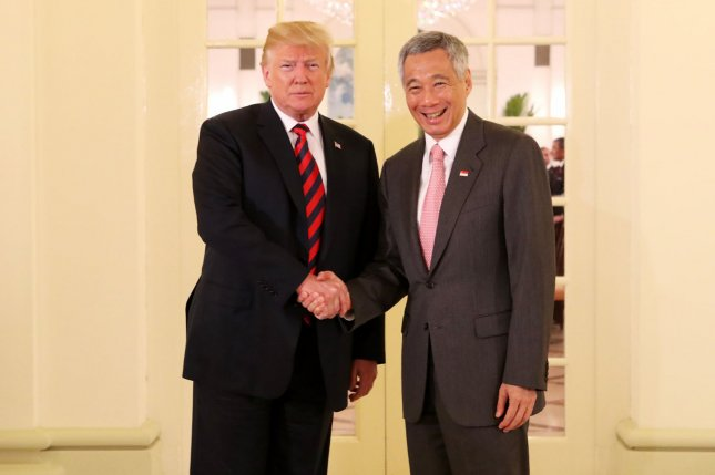President Donald Trump meets with Singapore Prime Minister Lee Hsien Loong after arriving Monday. Trump is scheduled to meet North Korean leader Kim Jong Un in a historic summit Tuesday. Photo by Terence Tan for Ministry of Communications and Information Singapore/UPI
