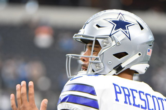 Dallas Cowboys quarterback Dak Prescott warms up prior to facing the  Detroit Lions on September 30 at AT T Stadium in Arlington d5b459260