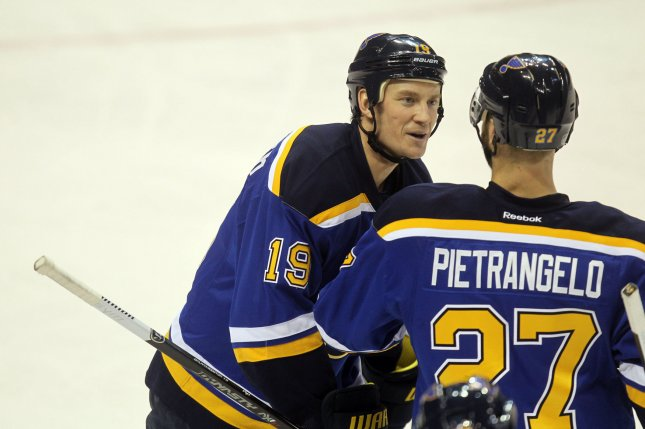 St. Louis Blues defenseman Jay Bouwmeester (L) had one goal and eight assists this season. File Photo by Bill Greenblatt/UPI