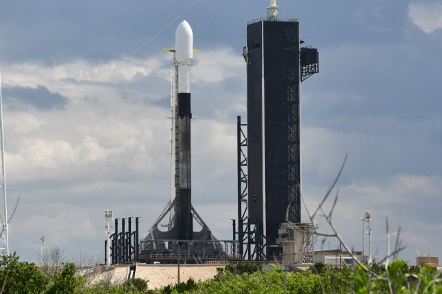 A SpaceX Falcon 9 rocket is being prepared for liftoff from Launch Complex 39A at Kennedy Space Center in Florida early Friday. Photo by Joe Marino/UPI