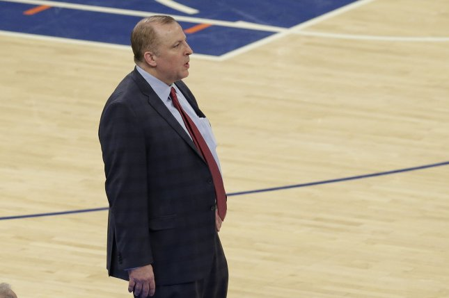 Former Minnesota Timberwolves head coach Tom Thibodeau ranks 11th in career winning percentage for coaches with 500 or more games. File Photo by John Angelillo/UPI