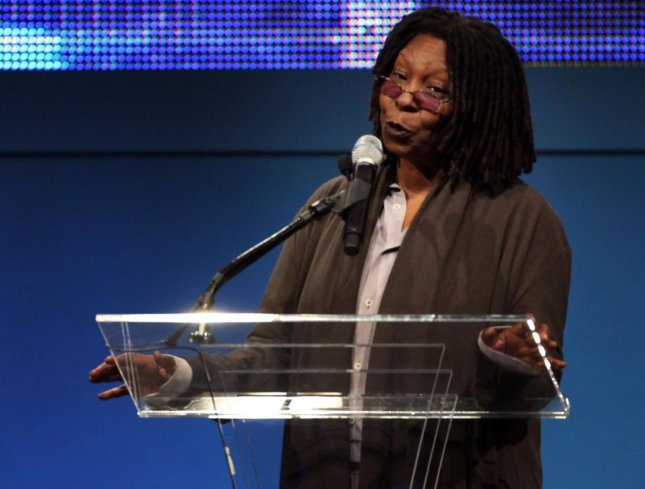 Actress Whoopi Goldberg introduces Steven Spielberg before he was awarded the 2009 Liberty Medal at the Constitution Center in Philadelphia on October 8, 2009. UPI/Laurence Kesterson/Pool
