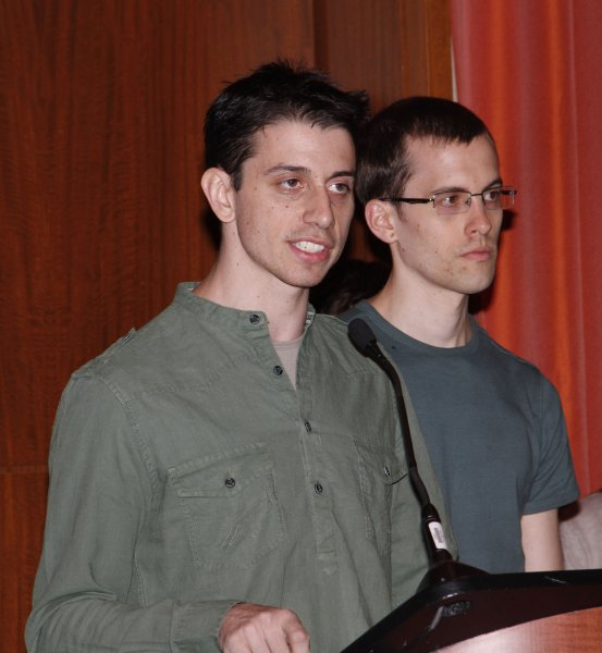 Josh Fattal (L) and Shane Bauer, the two American hikers who were recently released after being held in an Iranian prison for more than two years, speak to the press on their imprisonment at the Parker Meridien New York on September 25, 2011. The two were charged with espionage, after allegedly crossing the border between Iraq and Iran on a hiking trip. UPI/Laura Cavanaugh